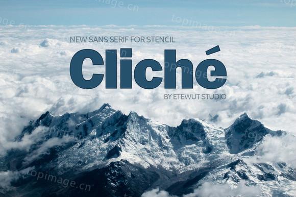 Cliche现代简洁无衬线排版logo英文字体下载