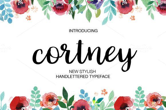 Cortney优美卡片手写连体创意时尚英文字体下载