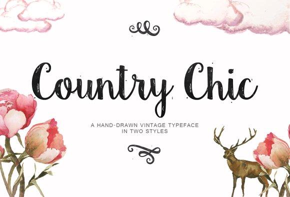 Country Chic手写手绘笔触纹理英文字字体下载