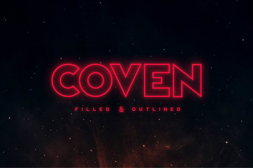 Coven霓虹灯科技发光线条无衬线英文字体下载