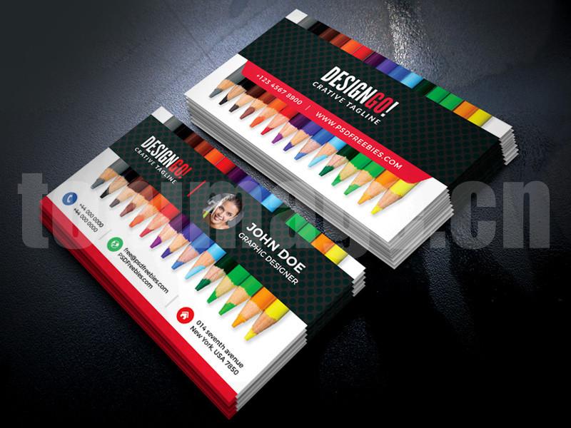 彩色铅笔七色彩虹名片创意工作室设计师商务名片模板psd源文件下载