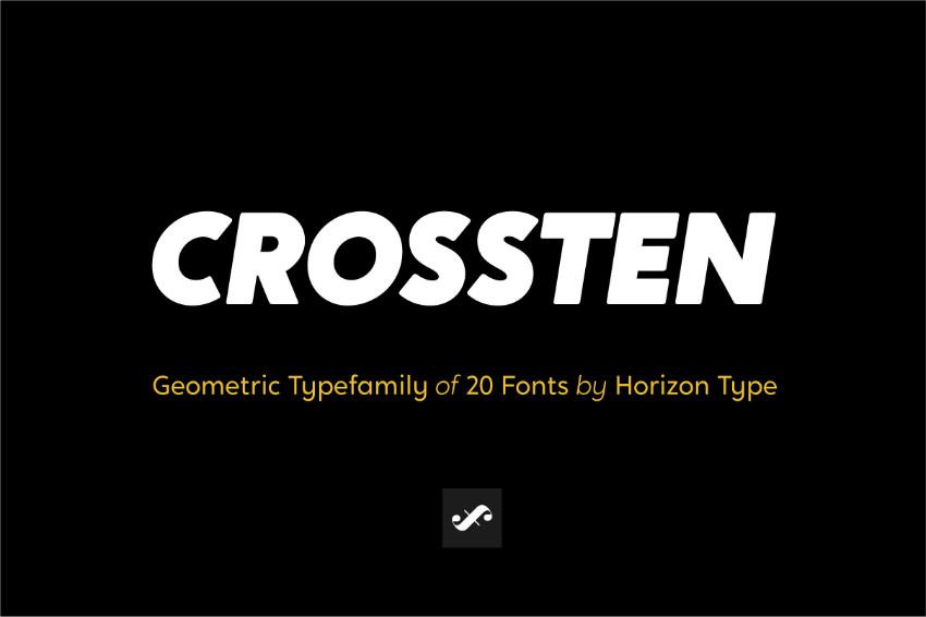 Crossten现代圆润logo粗细英文字体下载