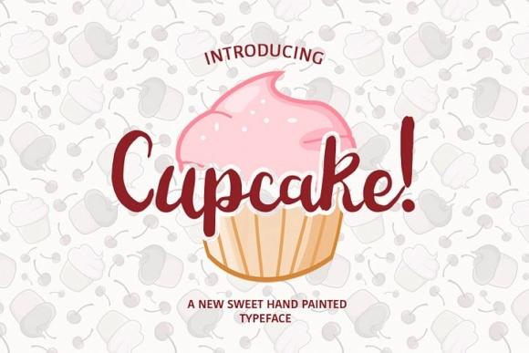 Cupcake!可爱手写连体创意卡通美食海报英文字体下载