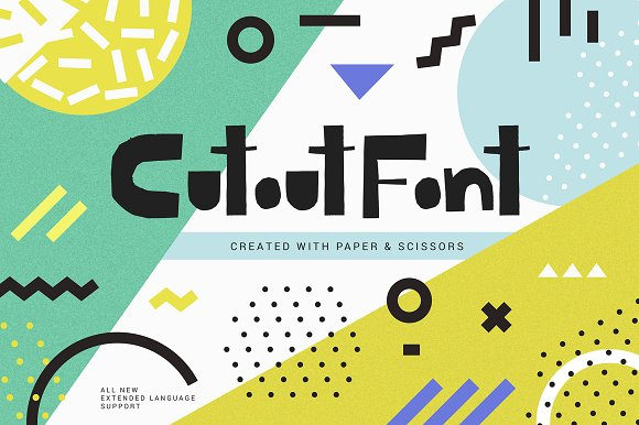 Cutout创意手绘logo趣味英文字体下载