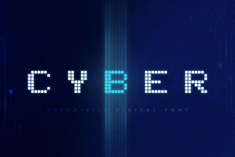 Cyber科技马赛克点点现代简洁英文字体下载