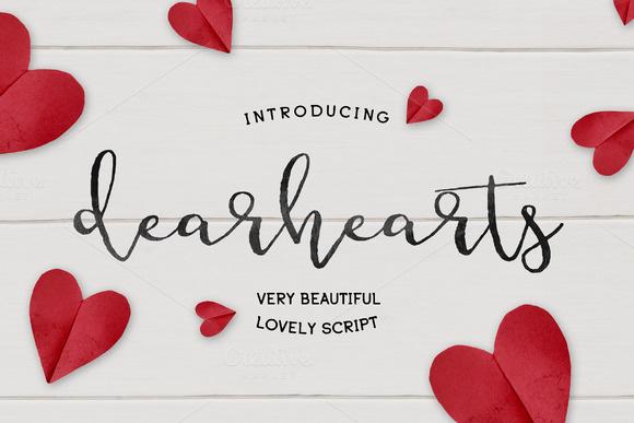 DearHearts创意节日海报手写连体时尚英文字体下载