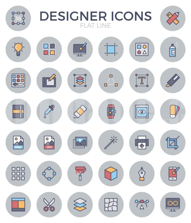 设计工作室 设计师 图标 电脑 钢笔工具 剪刀 打印机 吸管 数位板icon图标源文件下载