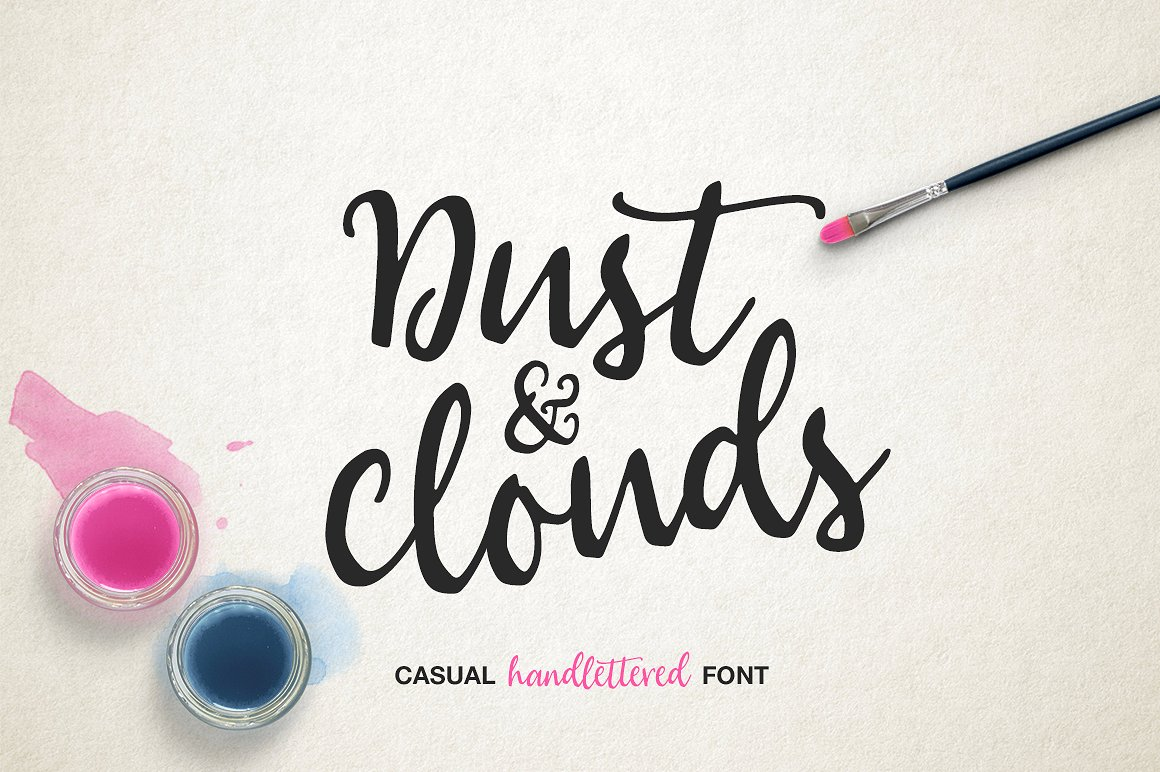 DustCloud手绘连体创意时尚海报花式英文字体下载