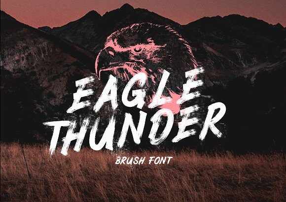 Eagle Thunder 书法笔触毛笔纹理英文字体下载