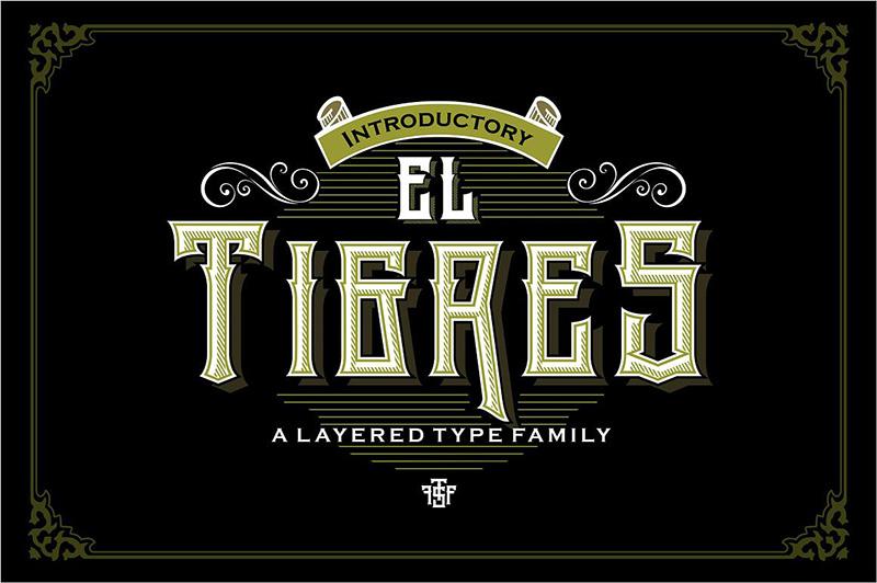 El Tigres哥特式奇卡诺纹身游戏英文字体下载