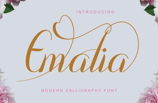 Emalia现代婚礼手写英文字体下载
