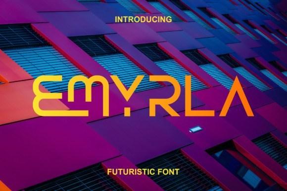 Emyrla现代无衬线科幻断线logo英文字体下载