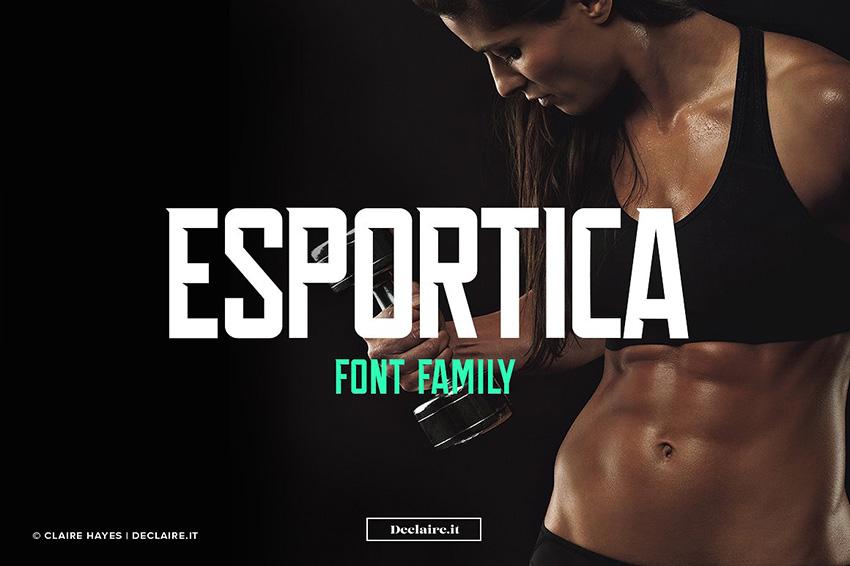 Esportica个性现代力量感运动健身房英文字体下载