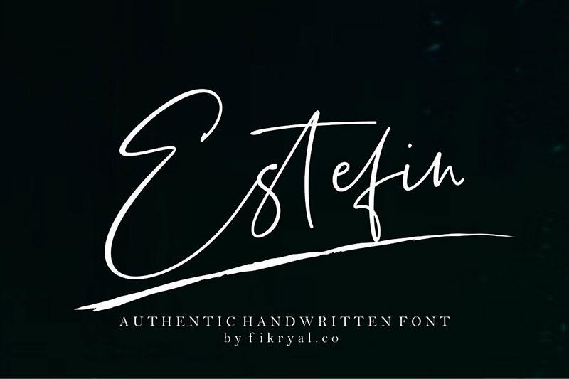 Estefin手写连笔签字英文字体下载