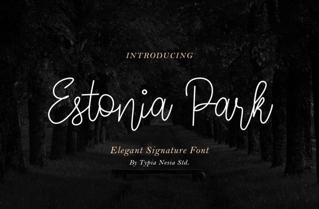 Estonia Park签名连笔线条英文字体下载