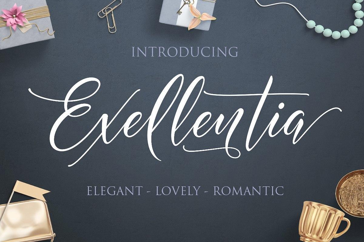 Exellentia珠宝礼品高端海报手写英文字体下载
