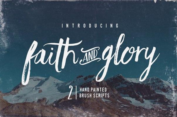 Faith And Glory手写笔刷连笔书法英文字体下载