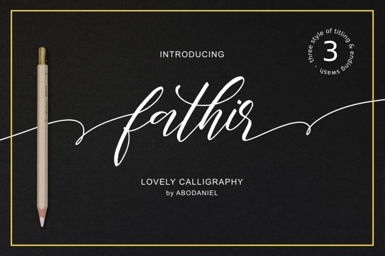 Fathir Script婚礼手写连笔艺术签名字体下载