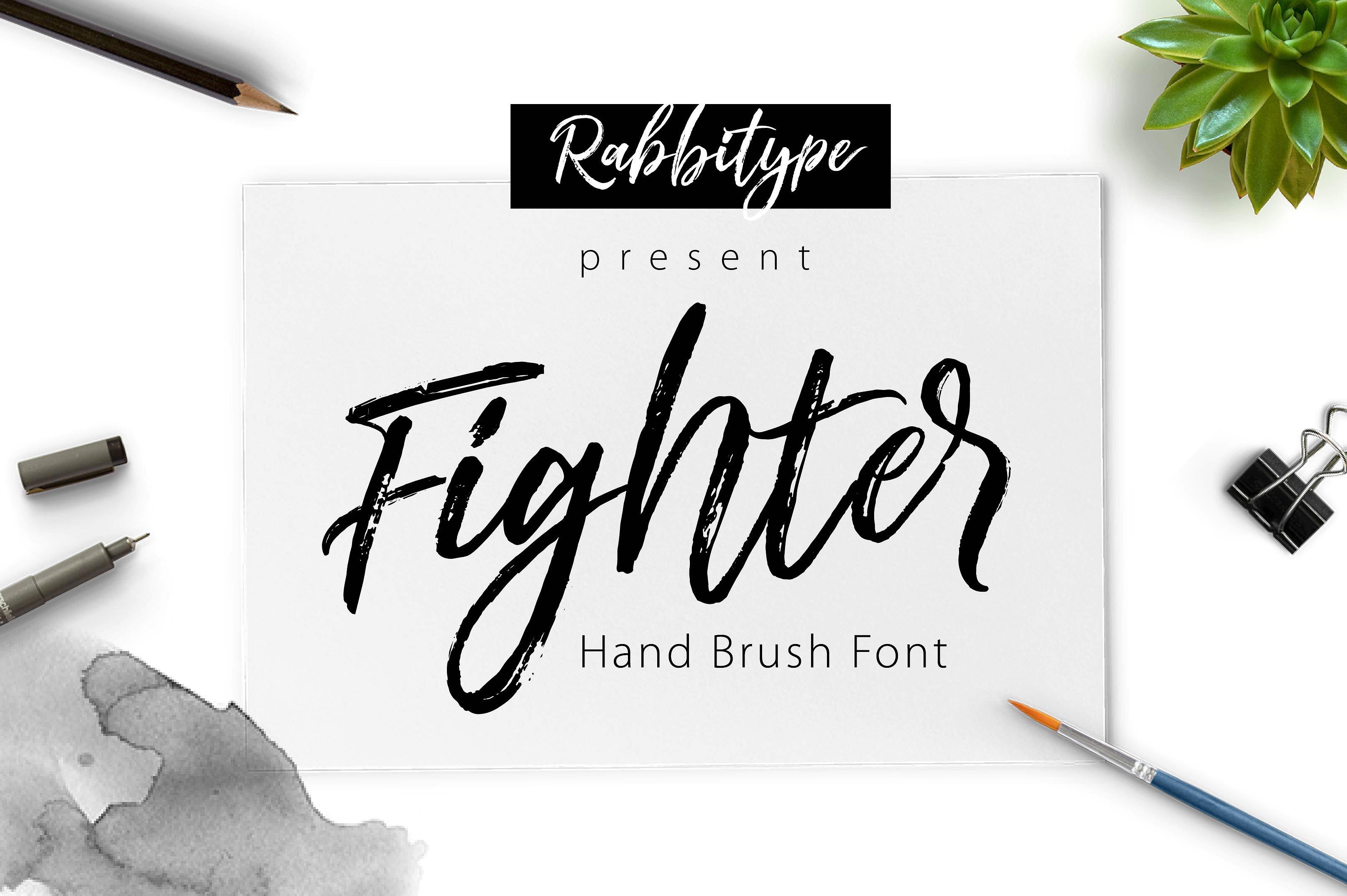 Fighter个性手写笔刷肌理海报英文字体下载