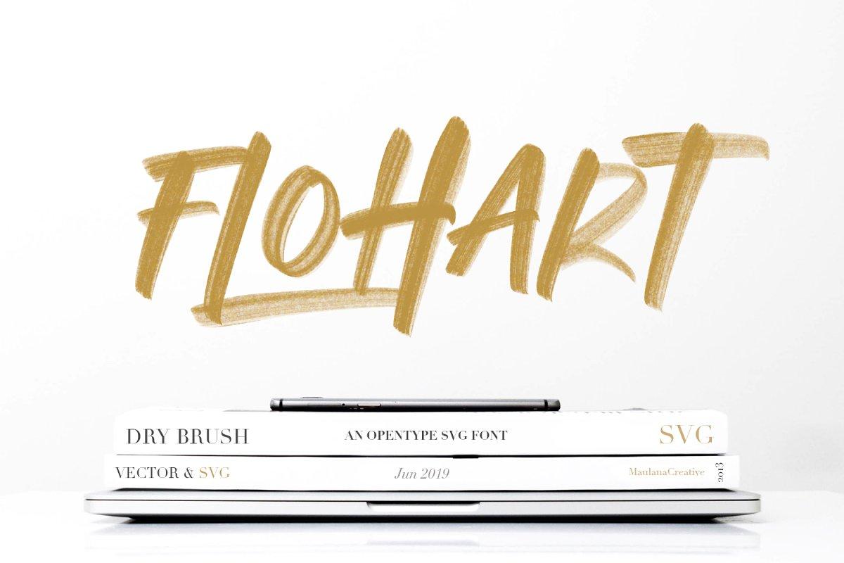 Flohart vector svg书法笔触毛笔纹理粗糙英文字体下载