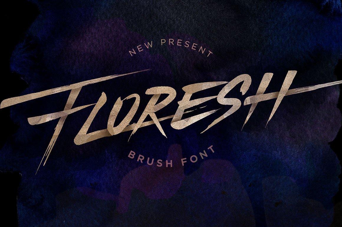 Floresh书法连笔大气毛笔英文字体下载