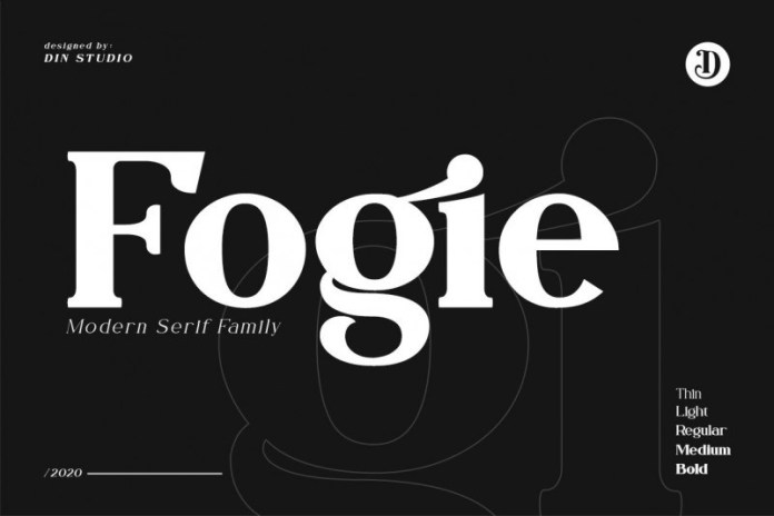 Fogie现代衬线设计时尚杂志标题logo英文字体下载