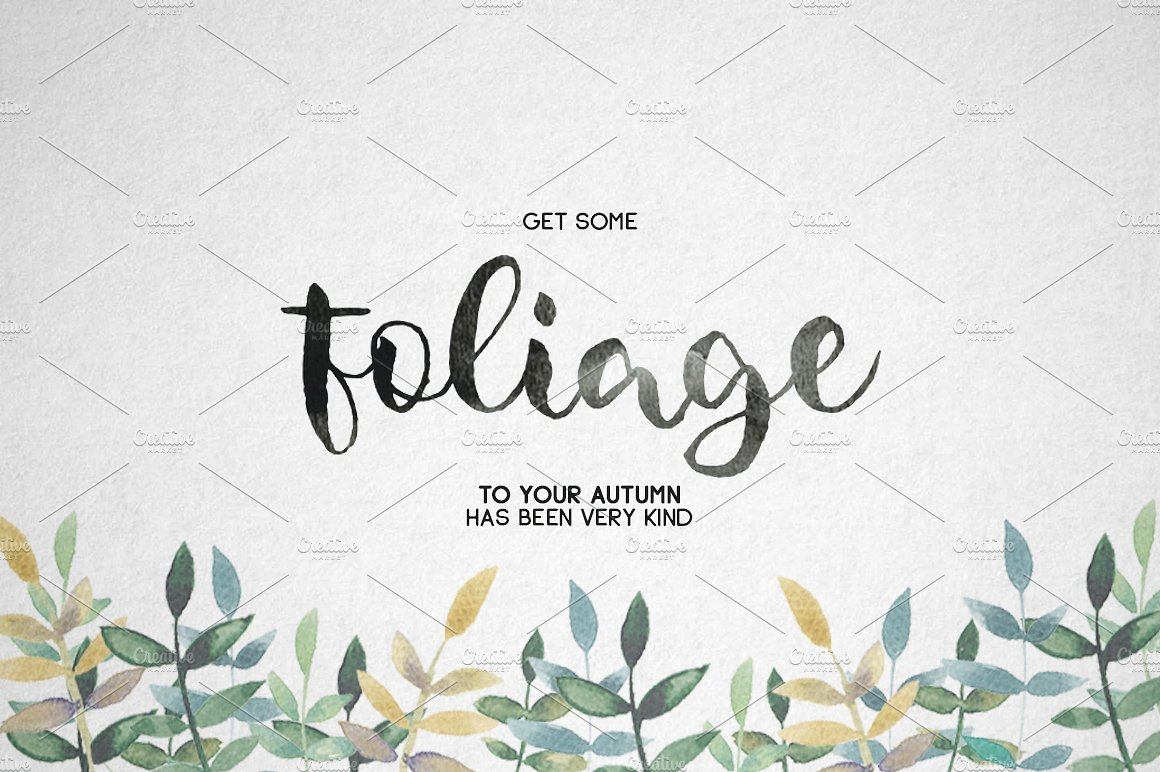 Foliagev2文艺时尚装饰手写连体创意海报英文字体下载