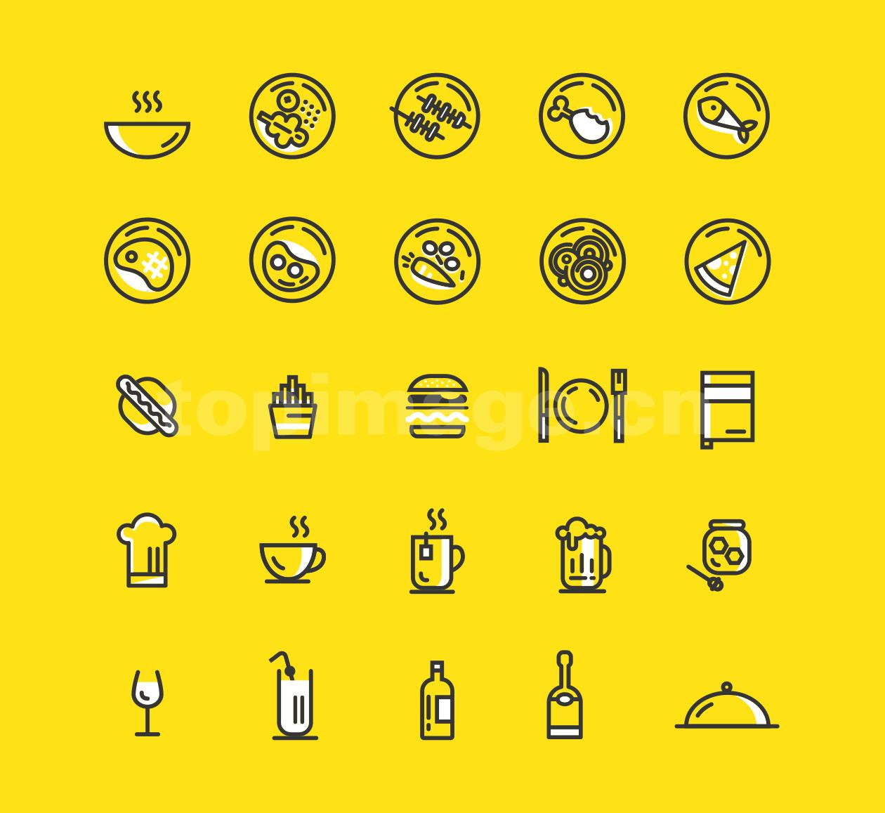 食物icon餐馆食品图标烧烤 鱼 汉堡 酒水 西餐 牛排 热狗 源文件下载