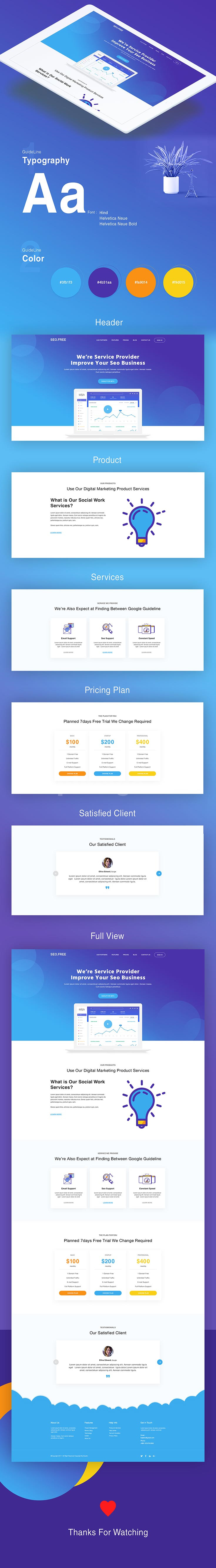 seo宣传单页面web界面网页设计模板源文件ui flat design psd模板下载