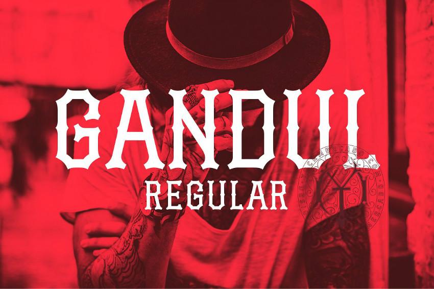 Gandul哥特个性游戏纹身奇卡诺骨节英文字体下载