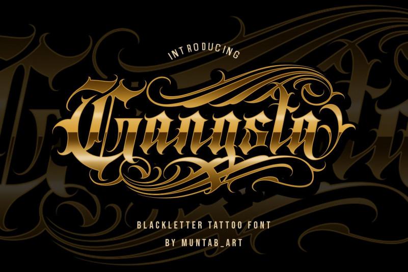 Gangsta复古游戏纹身哥特logo英文字体下载