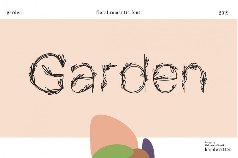 Garden手写花草叶子造型个性创意英文字体下载