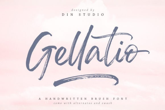 Gellatio笔刷笔触毛笔大气涂鸦手写英文字体下载