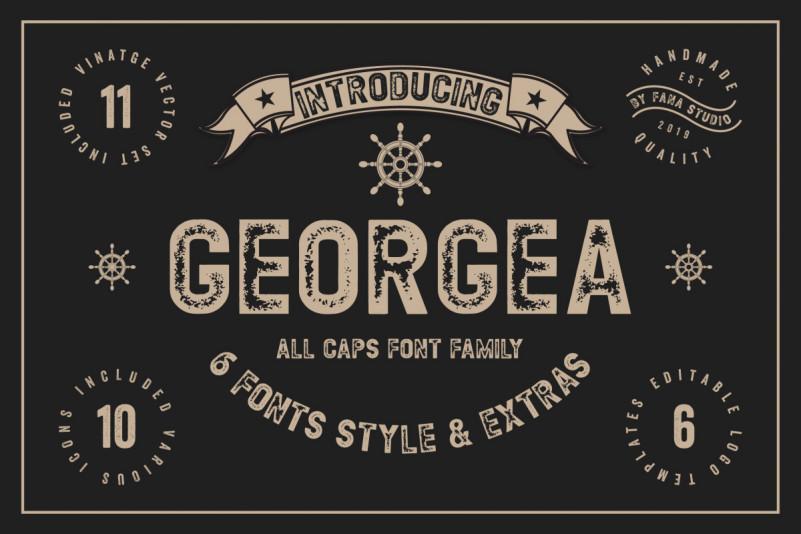 Georgea无衬线logo破损肌理英文字体下载