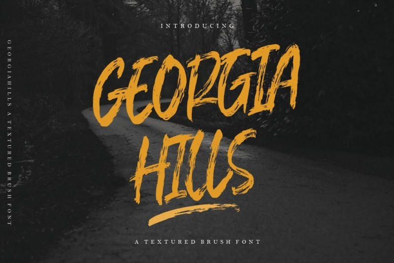 Georgia Hills手写书法笔触笔刷肌理英文字体下载