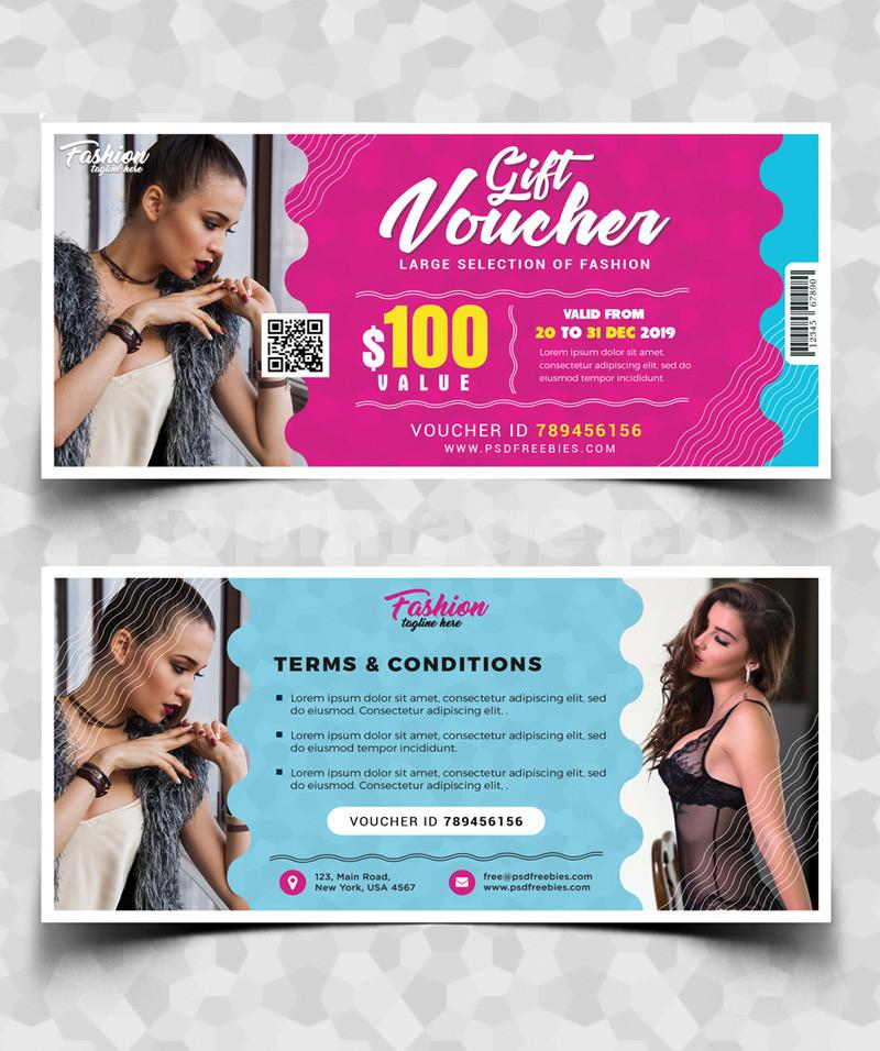 节日促销优惠券卡片女装模板psd免费下载