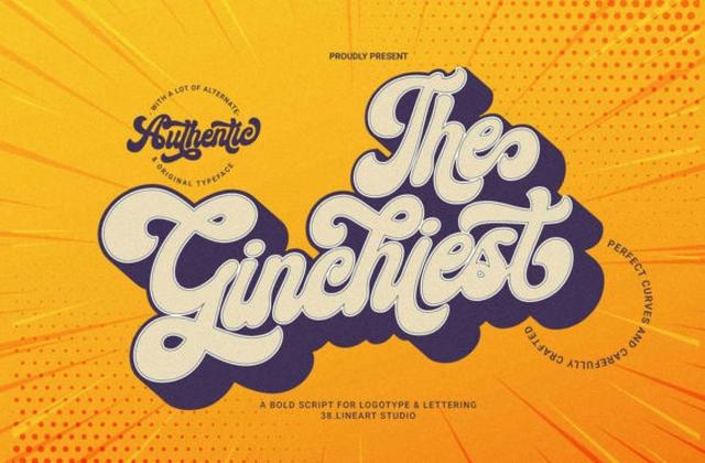 Ginchiest时尚手写电商海报包装英文字体下载