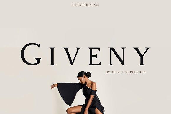 Giveny现代时尚服装杂志海报衬线英文字体下载