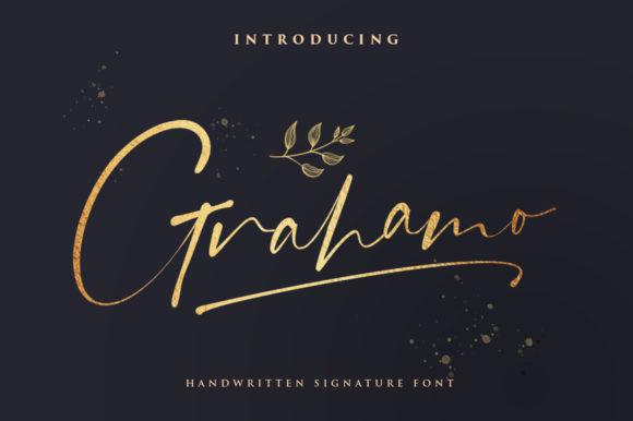 Grahamo手写连笔婚礼水印logo字体下载