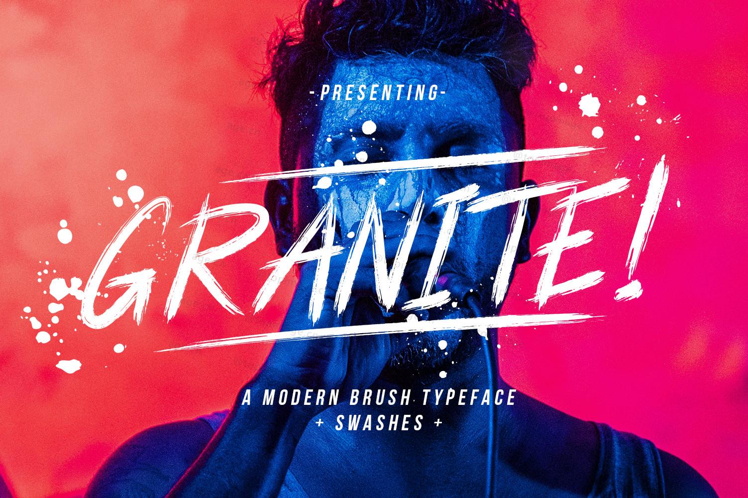Granite手绘笔刷书法喷溅毛笔英文字体下载