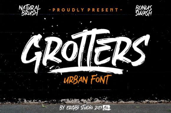 Grotters肌理笔刷手写英文字体下载
