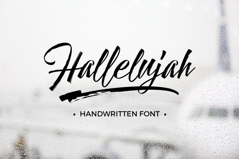 Hallelujah笔刷笔触手写涂鸦英文字体下载