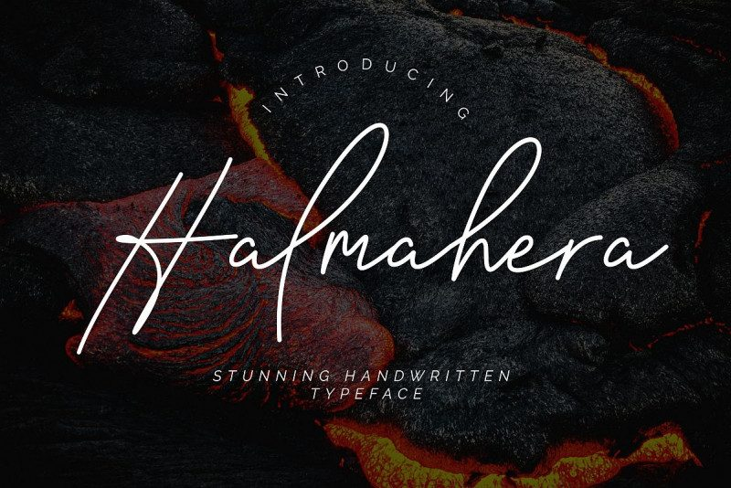 Halmahera手写连笔极细网红签名艺术英文字体下载