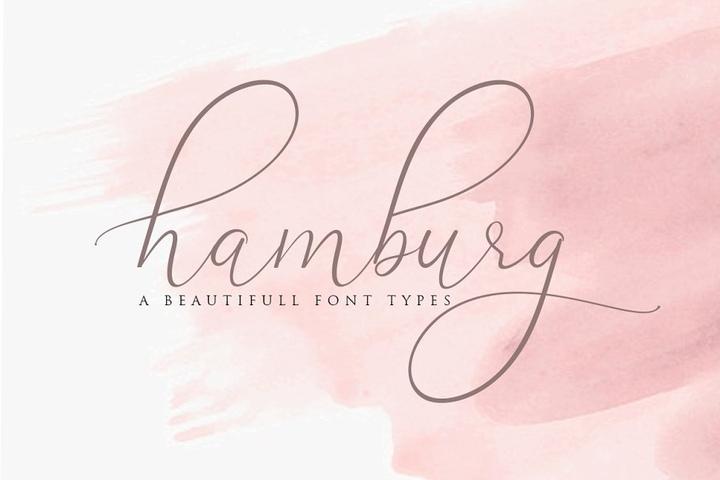 Hamburg好看的手写连笔婚礼英文字体下载