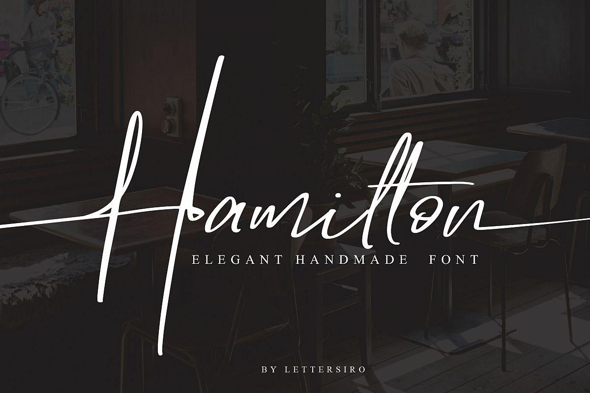 Hamilton手写连笔英文签名字体下载