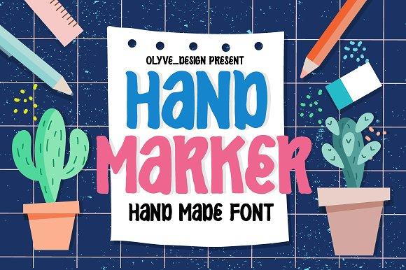 Hand_Marker手写手绘连笔卡通英文字体下载