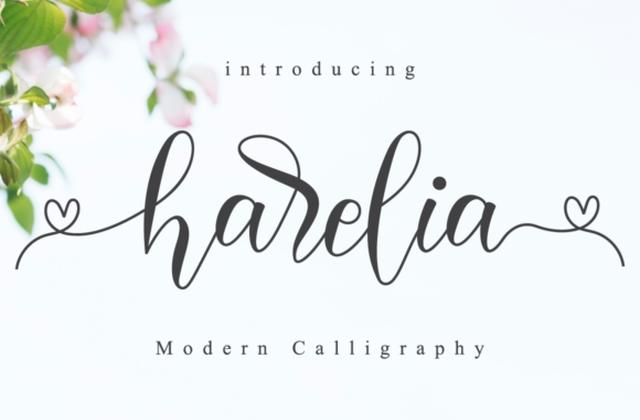 Harelia婚礼花体好看的logo设计英文字体下载