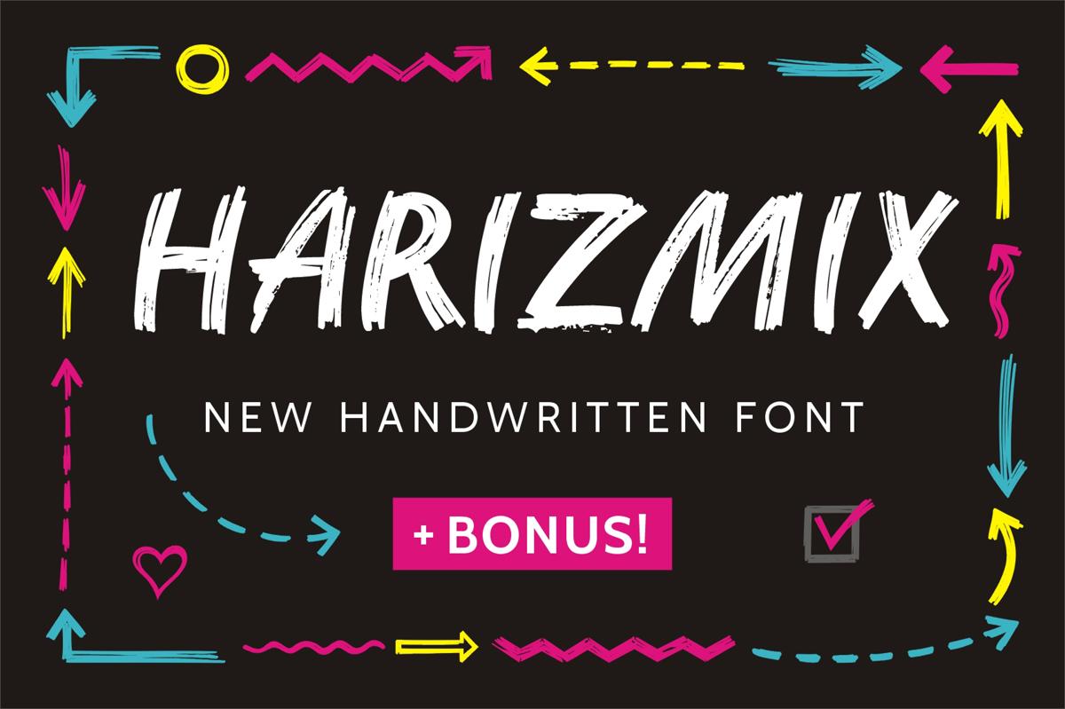 Harizmix手写笔触书法连笔新英文字体下载