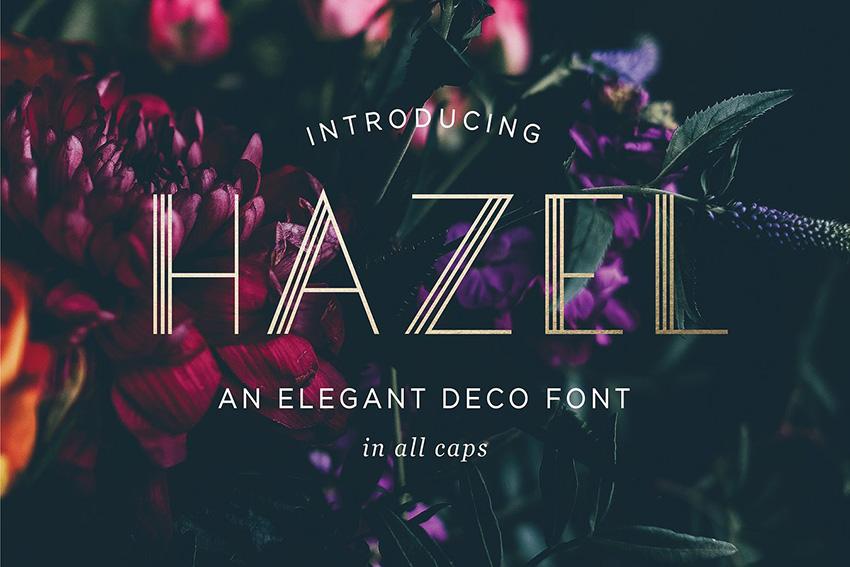 HazelDeco 现代简洁线条logo英文字体下载