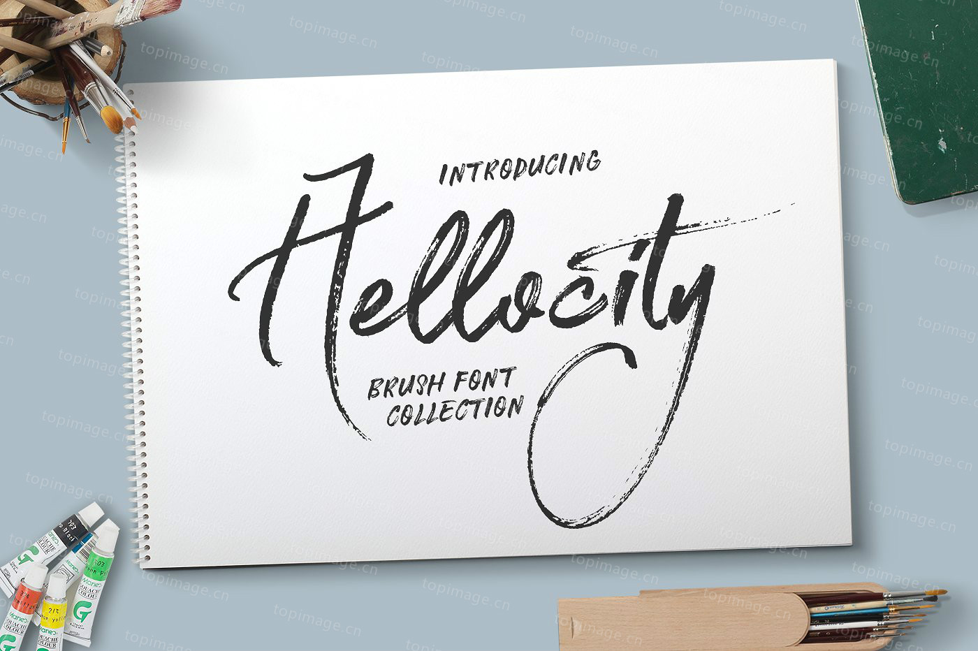 Hellocity毛笔手写书法飘逸好看的签名英文字体下载
